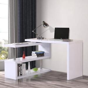 L-shaped Rotating Office Desk Corner Computer Desk Storage Organizer with Shelves White / Rotating office desk