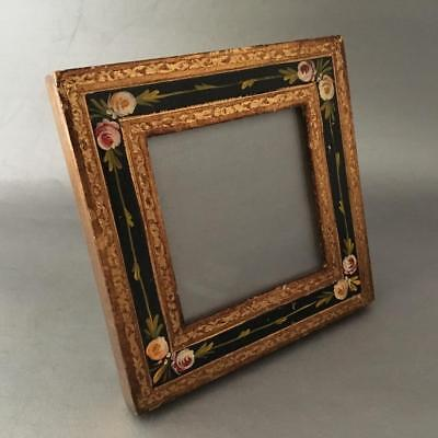 VTG ITALIAN FLORENTINE HAND PAINTED FLOWERS GOLD TOLE WOOD PICTURE FRAME w GLASS