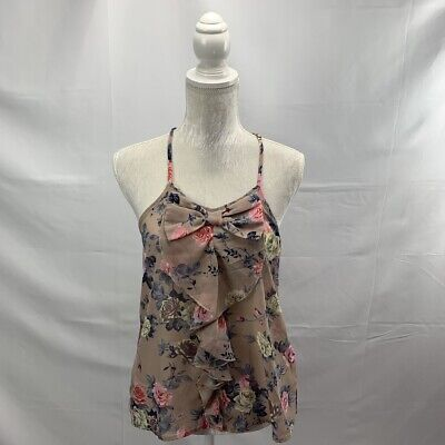 Floral Bow Front Semi Sheer Hi-low Chiffon Blouse Ruffle Adjustable Straps Small Chiffon Bow Front Blouse