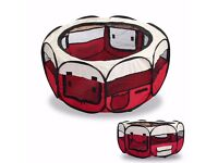 NEW LARGE ANIMAL FABRIC PLAY PEN/PEN RUN IN RED,IDEAL FOR SMALL ANIMALS