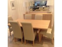 Dinning table whith six chairs and four drawer dresser whith lamps for sale.great condition £450.00