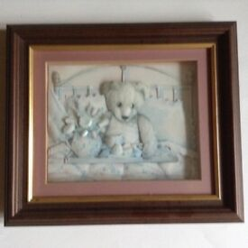 Handcrafted 3D Bear picture in hardwood frame