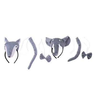 Animal Costume Wolf Elephant Headband Bow Tie Tails - Kostüm Wolf Tail