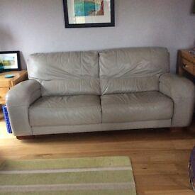 Modern pale grey leather sofa