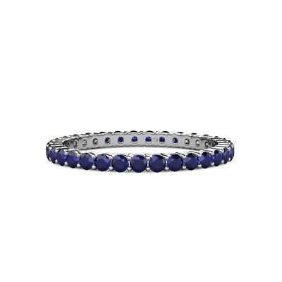 Blue Sapphire Shared Prong Eternity Ring Stackable 0.91 ctw* 14K Gold -