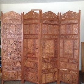 Eastern hardwood 4 fold screen, unusual and beautiful