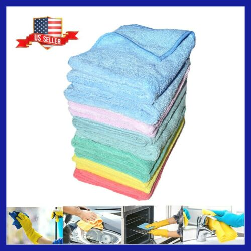 """U-Clean 12 Microfiber Towels LARGE 16"""" Soft Durable ABSORBENT Car Cleaning Towel"""