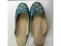 Jewelled blue flats