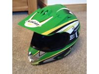 Boys green motor Cross helmet