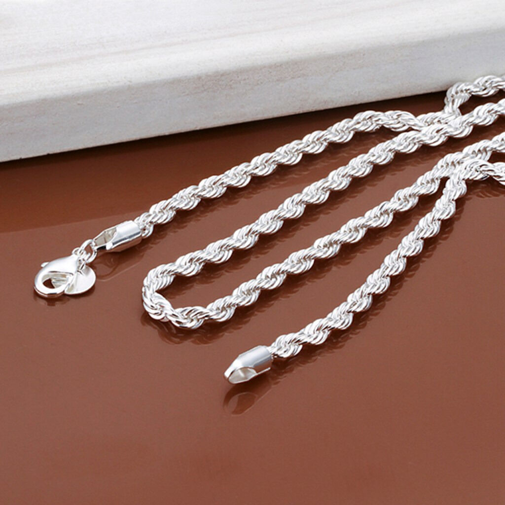 925 Sterling Solid Silver 4MM Snake Rope Chain Men Jewelry Necklace 16-24 Inch