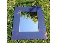 CHUNKY RUSTIC SHABBY CHIC VINTAGE BLUE DISTRESSED CHALK PAINTED WOODEN MIRROR