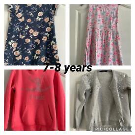 Girls clothes bundle dresses,leggings,t-shirt, cardigan,hoody age 7-8 years
