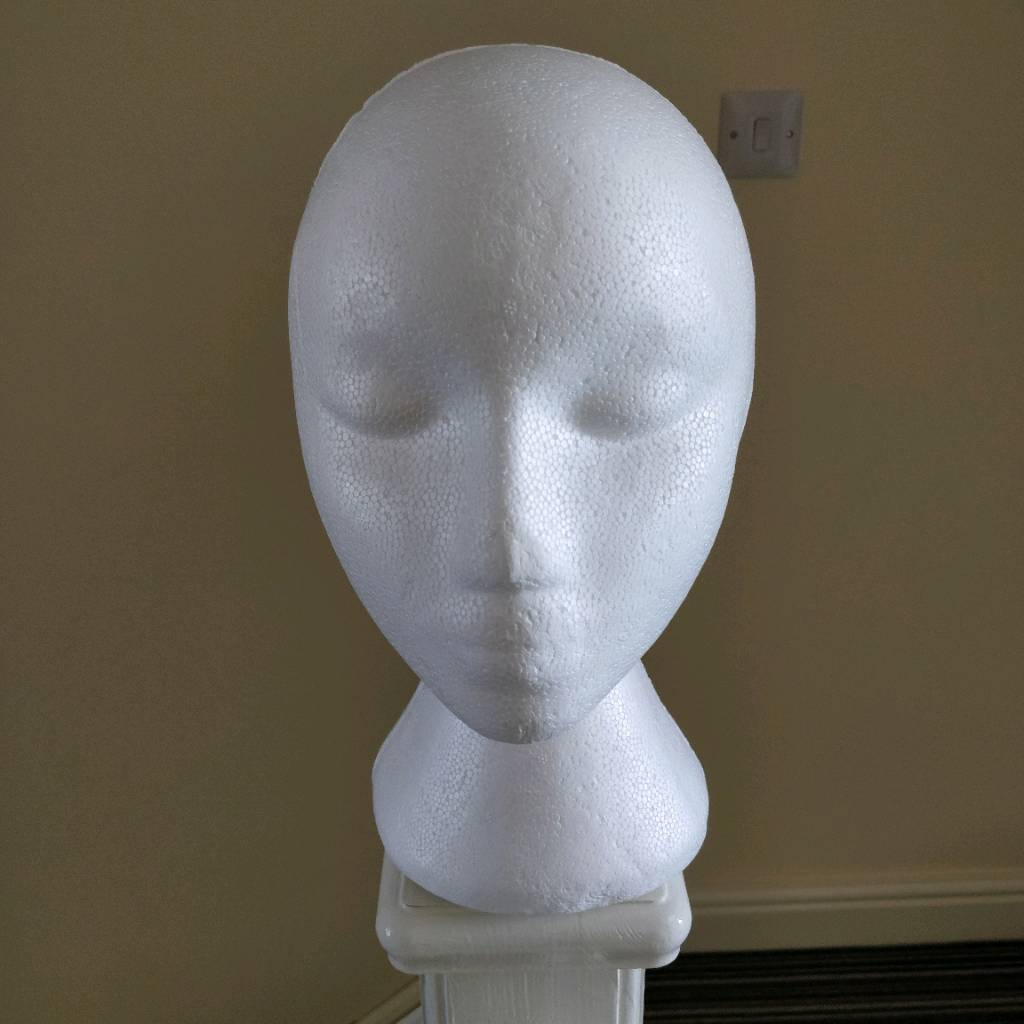 Polystyrene head - female - display - hat wig stand | in Keyworth