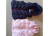 Two Next Gilets/bodywarmers - pink (age 7-8) and navy (age 7)