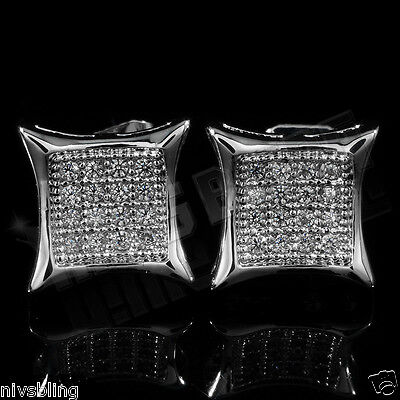 18K White Gold ICED OUT Lab Diamond Silver Stud Square Bling Mens Earrings