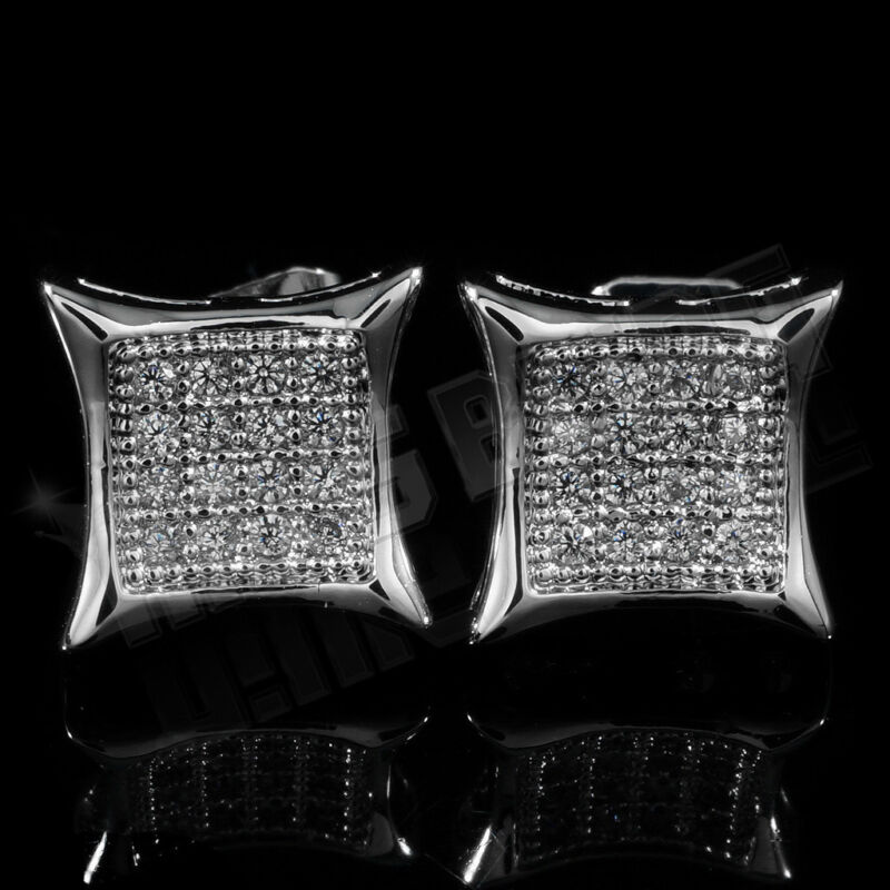 18K White Gold Bling Out Iced Lab Diamond Silver Stud Square Mens Earrings