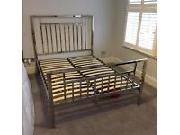 Marks and Spencer Metal double Chrome silver bed frame