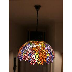 Hand made stained glass Quoizel Tiffany hanging ceiling light