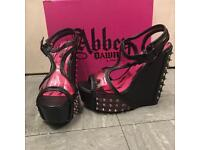 Brand New Pink Abbey Dawn Hellraiser Spike Wedge Heels UK 8