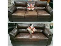 Leather 3 & 2 seater sofas can deliver 07808222995