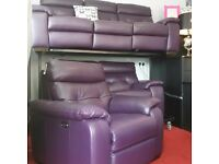 EX-DISPLAY 100% TOP GRAIN LEATHER ~ TOP QUALITY ~ ELECTRIC RECLINING 3 PIECE SUITE