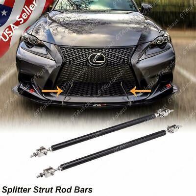 Black Adjustable Front Bumper Lip Splitter Strut Rod Tie Support Bars For Lexus