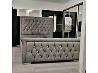 ⚡️⚡️EXCELLENT QUALITY⚡️⚡️⚡️Brand new Double Heaven bed Frame With Diamond Buttons in Grey Color