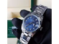 New Mens bagged silver oyster Bracelet blue dial automatic sweeping Rolex datejust watch diamond