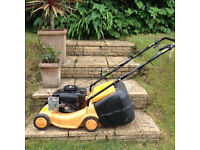 Petrol grass cutter. Good working order. Pulls itself along. With grass collecting box.