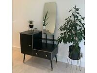 Mid Century Modern Dressing Hall Table Sideboard with Mirror, Drawer & Cupboard