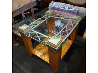 Lovely Vintage Industrial Style Coffee/Side Table with Glazed & Metal Top and Wooden Frame