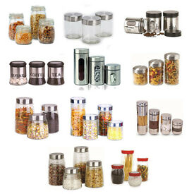 Details about 3PC 4PC CANISTER SET STAINLESS STEEL COFFEE TEA SUGAR GLASS JAR LID STORAGE JARS