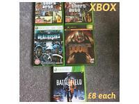 Xbox games, £8 each