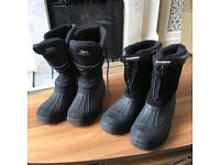 Two pair of black winter boots