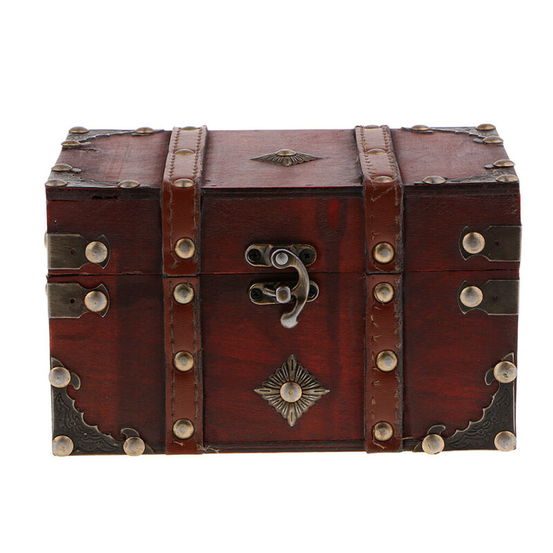 Vintage Wooden Treasure Chest Jewelry Accessory Storage Box Gift Box A