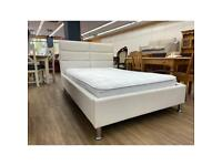 3 quarter white faux leather bed