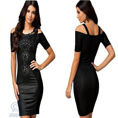 Black Floral Lace Off Shoulder Wetlook Sexy Midi Bodycon Fit Evening Party Dress