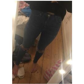 Topshop blue ripped Jamie jeans