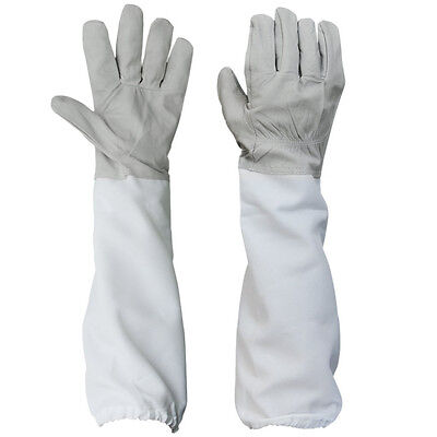 2pcs Beekeeping Protective Gloves With Vented Long Sleeves-grey And White Lw Cw