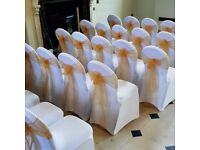 Chair covers, sashes, centre pieces, hanging lanterns, personalised decor and much more