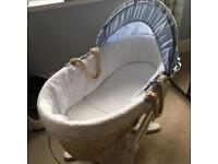 Moses basket and glider stand & 2 fitted sheets