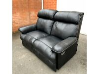 Very Comfy 2 Seater Black Leather Recliner ( free local delivery)