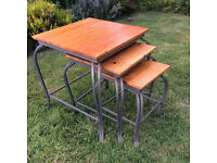 Quality TRIO NEST set of Wooden-top TABLES with Cast Iron Fancy Legs