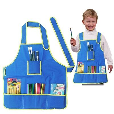 Waterproof Children's Craft Blue Apron Smock for Painting Drawing Kids Art Class Childrens Craft Apron
