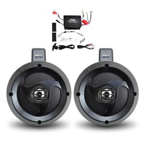 PYLE PLUTVA102 2-Channel Dual Marine For your Quad side by side 4x4 Wakeboard UTV ATV Amplified Speaker System (Pair)