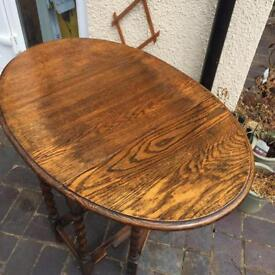 Old solid oak gate leg occasional table