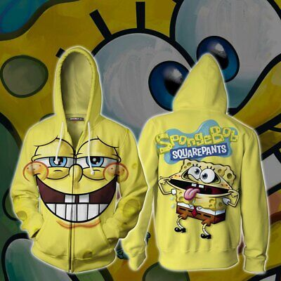 Adult Sponge Bob Costume (SpongeBob SquarePants zip up Hoodies 3D Jacket Cosplay Costume Adult Sweater)
