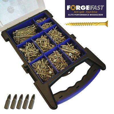 ForgeFast 1000pc Wood Screw Set Elite Fast Drive Anti Split Assorted Woodscrews