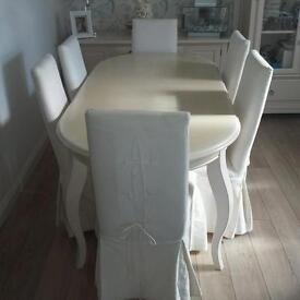 Beautiful Ivory/cream dining set and furniture