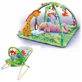 Fisher price boy or girls baby playmat and baby bouncer/rocker
